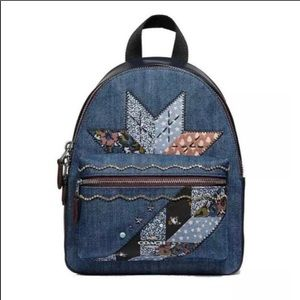 COACH MINI CHARLIE BACKPACK WITH STAR PATCHWORK